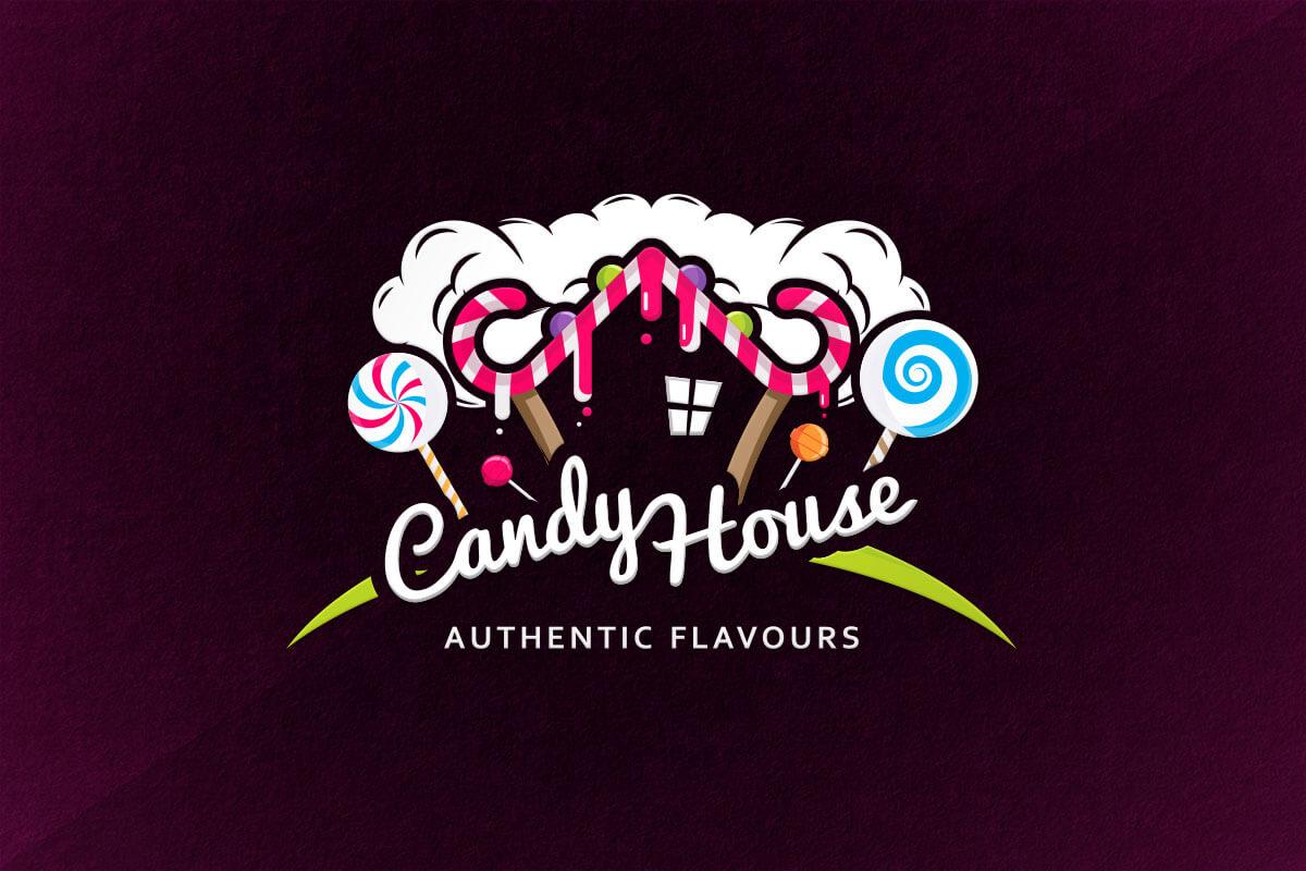 graphic design logo vape candy house sweet liquid ejuice