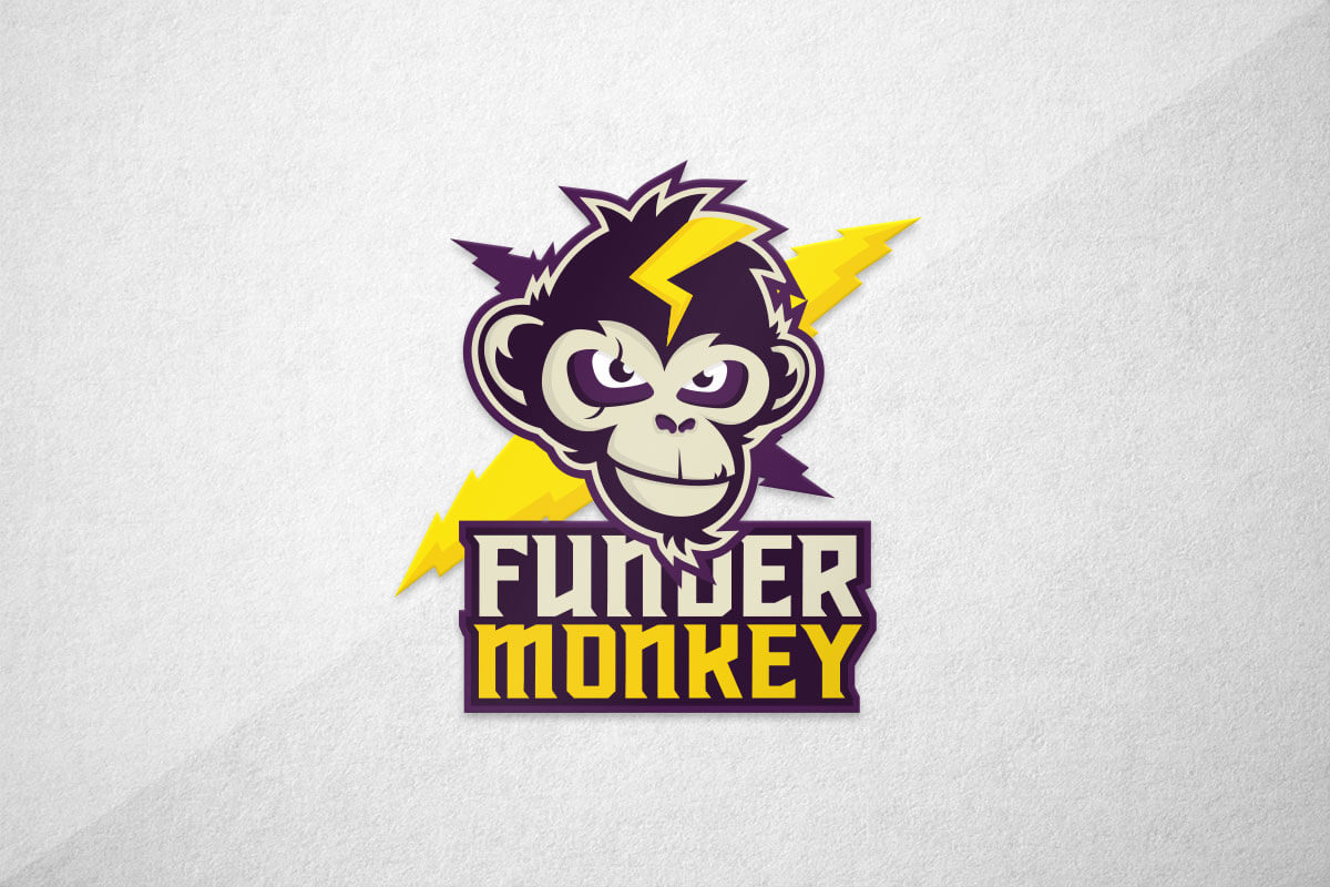 graphic design logo monkey thunder esports