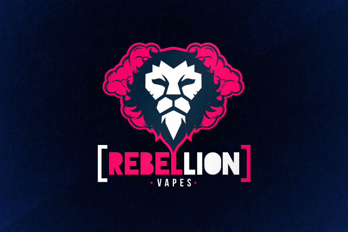 graphic design logo lion vape liquid rebel