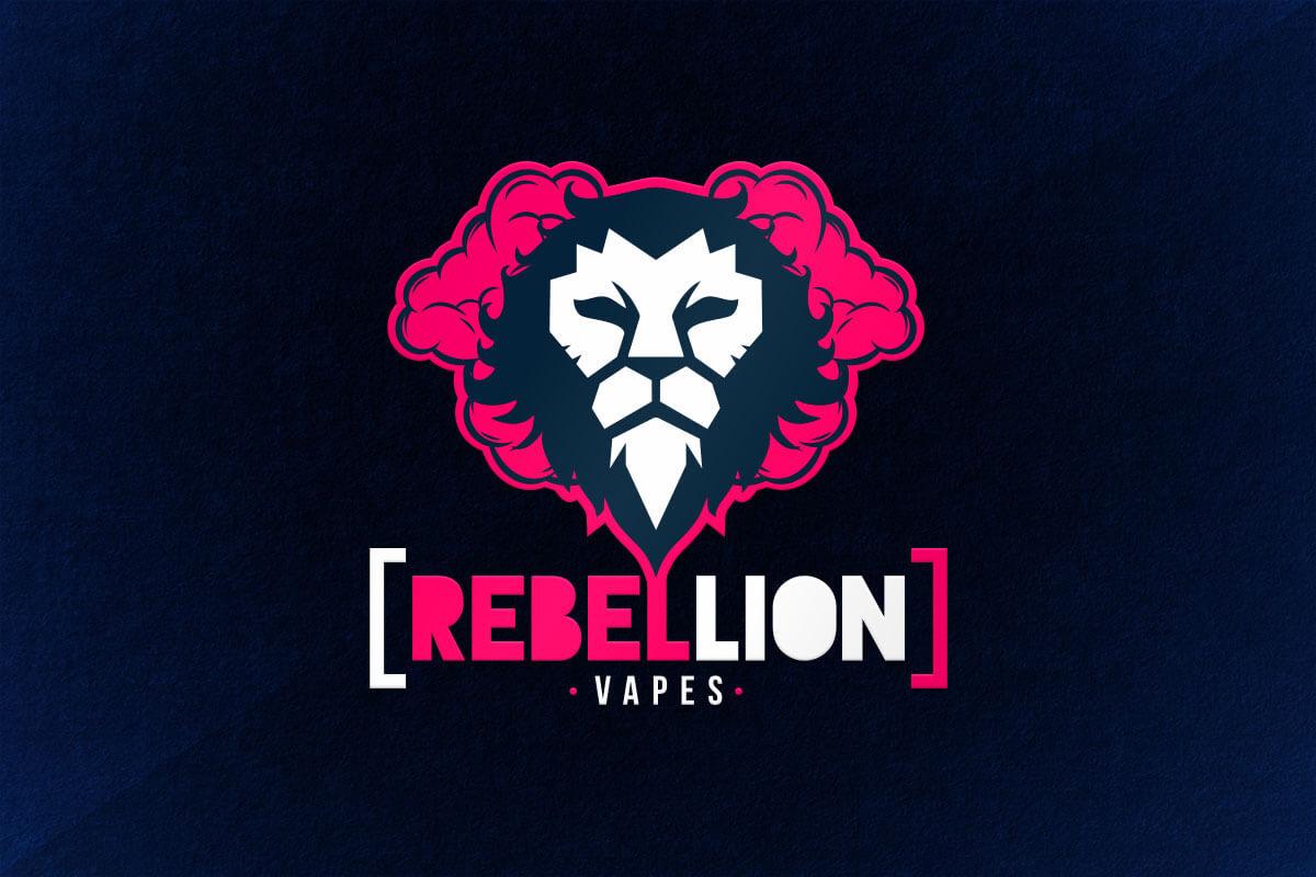 graphic design logo lion vape liquid rebel